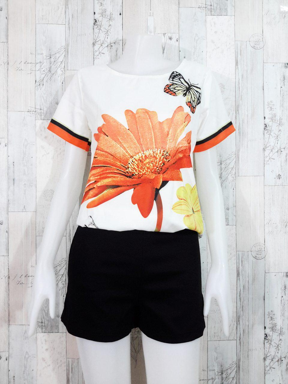 Set_bp1244-1246 ชุดเซ็ท 2 ชิ้น(เสื้อ+กางเกง)แยกชิ้น เสื้อแขนสั้นพิมพ์ลายผีเสื้อดอกไม้โทนสีขาวส้ม+กางเกงขาสั้นสีดำผ้าคอตตอนเนื้อหนา