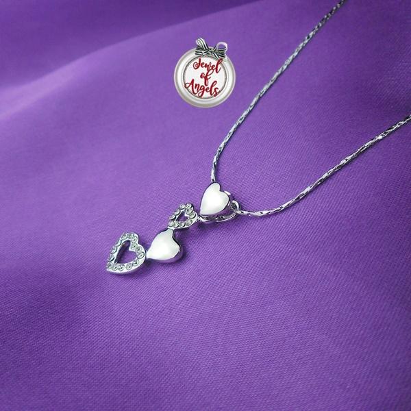 ชุดเครื่องประดับชุบทองคำขาว18Kรูปหัวใจประดับคริสตัล