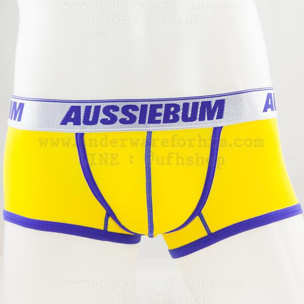 กางเกงในชาย AussieBum Boxer Briefs : ขอบเงิน สีเหลือง