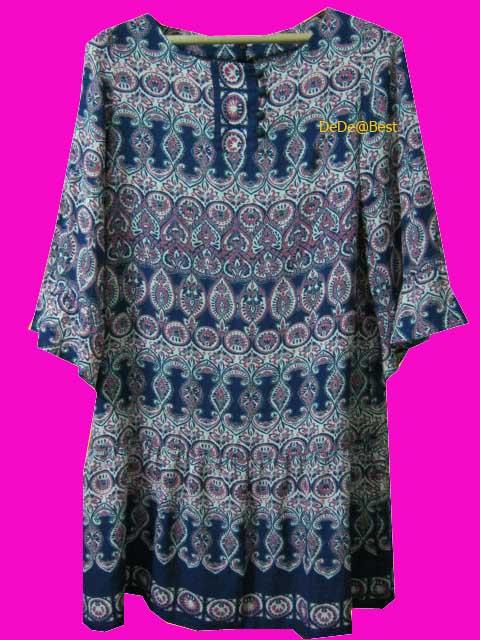 ขายแล้วค่ะ D21:Vintage dress เดรสวินเทจแขนกระดิ่งทรงตรงลายกราฟฟิค&#x2764