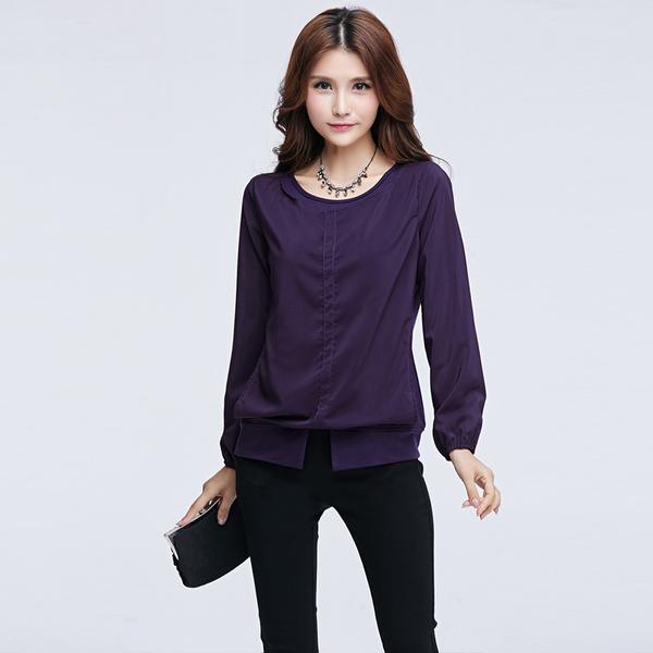 เสื้อยืดผ้าคอตตอนเย็บซ้อนด้วยผ้าชีฟอง สีม่วง/สีดำ แขนยาวผ้าชีฟอง (XL,2XL,3XL,4XL)