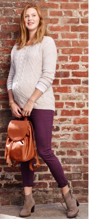 กางเกงลูกฟูกคนท้องขายาว Oldnavy Materny Full Panel สีเปลือกมังคุด