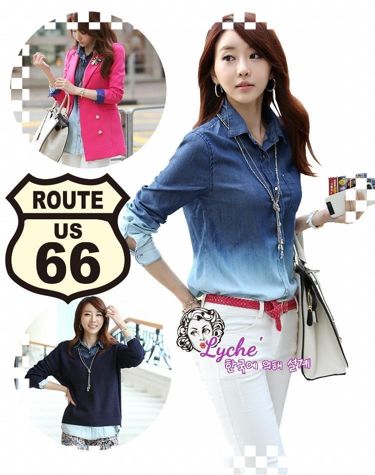 พร้อมส่ง สาวอวบใส่ได้ Gradient denim chic top ไซส์ L XL ATA538 เสื้อยีนส์ฟอกไล่สี เสื้อเชิ้ตเก๋ๆ ผ้ายีนส์นิ่ม แนวเกาหลีๆ stock 617