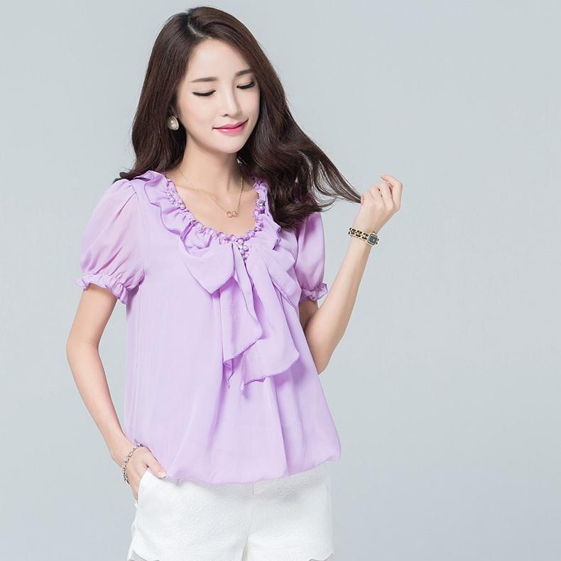 เสื้อชีฟอง คอวี แขนตุ๊กตา เอวจั๊ม สีม่วงอ่อน (XL,2XL,3XL,4XL) 18557