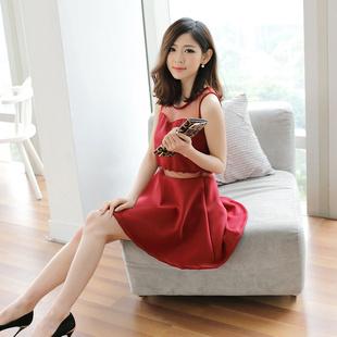 """size M""""พร้อมส่ง""""เสื้อผ้าแฟชั่นสไตล์เกาหลีราคาถูก เดรสแขนกุดสีแดง ช่วงบนอกและเอวแต่งผ้าตาข่าย ซิปหลัง มีซับใน สวยค่ะ"""