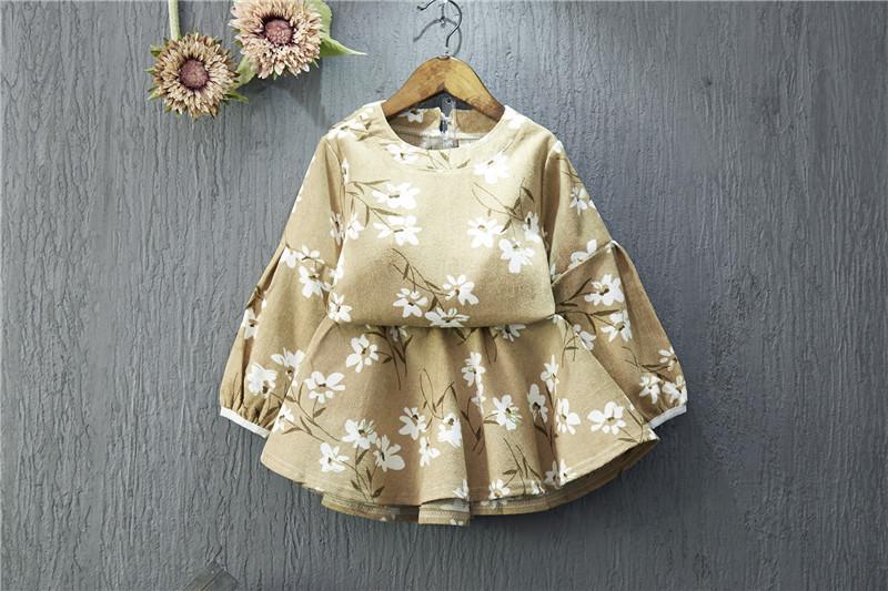 ชุด 2 ชิ้น เสื้อ+กระโปรงผ้าลูกฟูก (สีน้ำตาล)