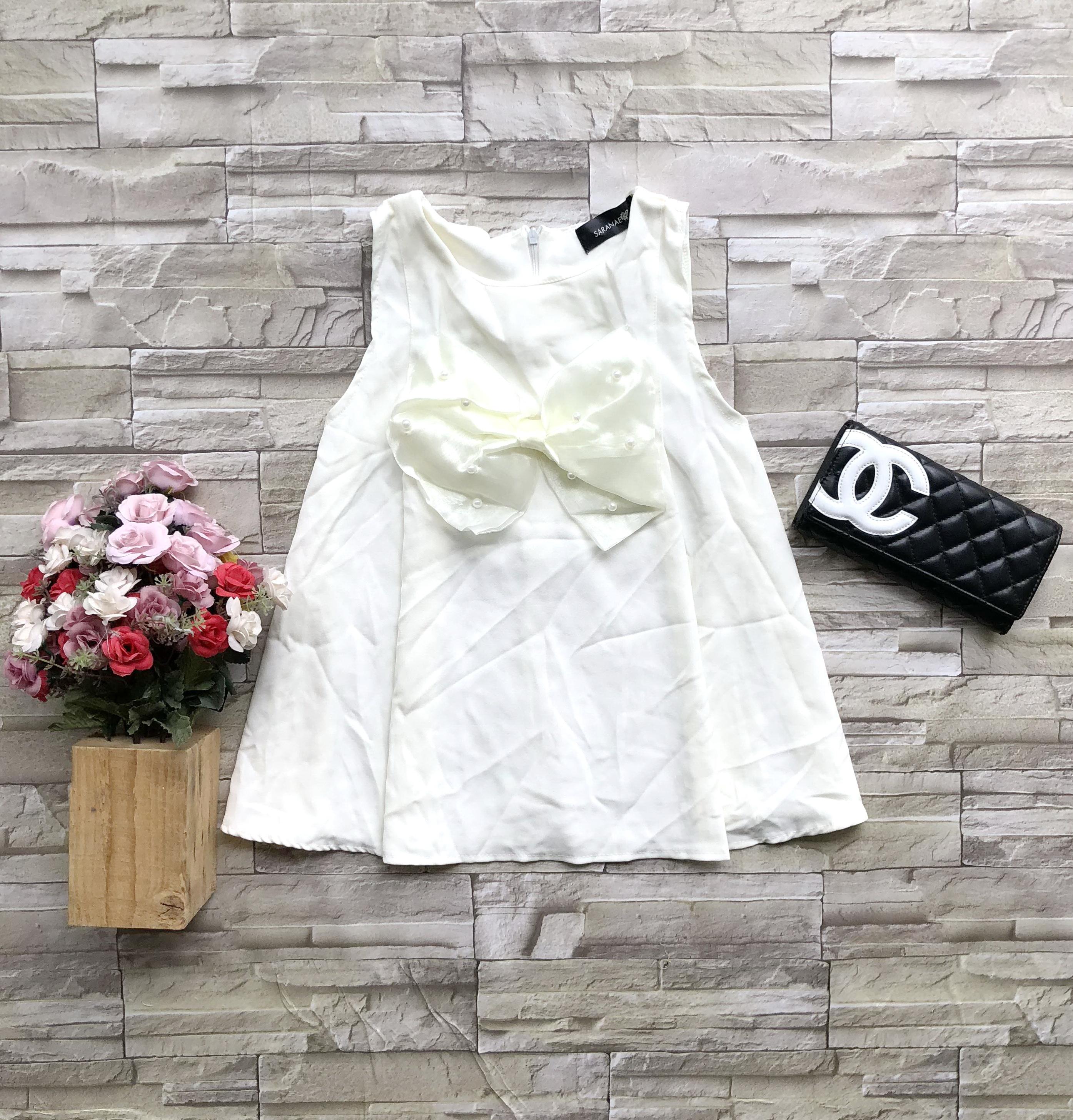 ส่ง:เสื้อฮานาโกะแต่งโบว์ติดมุกขาวทรงสวิงแบบน่ารัก/อก37