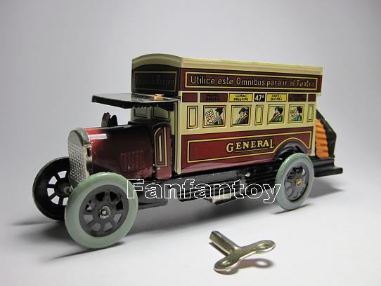 ของเล่นโบราณ รถบัส 2 ชั้น สีแดงไขลาน