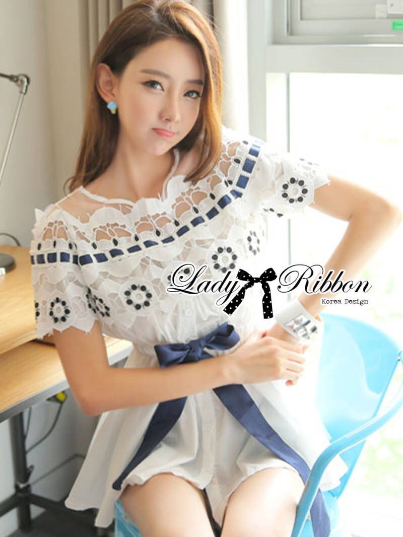 Lady Ribbon's Made Lady Charlotte Sweet Sleeveless Flower Embroidered Cotton Top