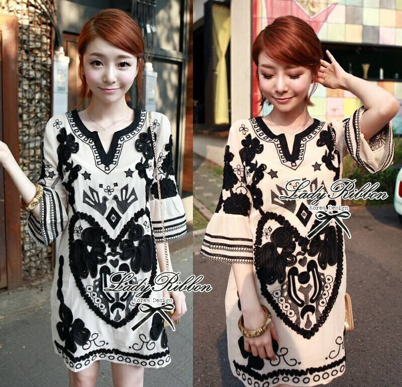 Lady Ribbon's Made Lady Anna Floral Printed and Black Crystal Embellished Cotton Silk Dress