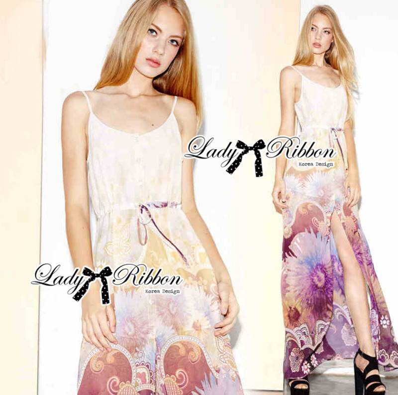 Lady Ribbon's Made Lady Vanessa Summer Colourful Floral Printed Long Dress