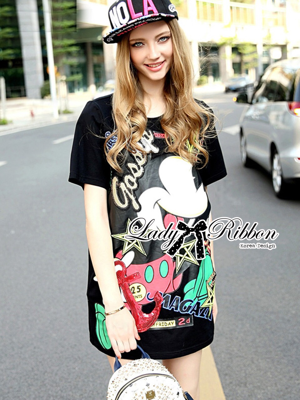 Lady Ribbon's Made Lady Micky Printed and Sequin Liz Hip-Hop Style T-Shirt Dress