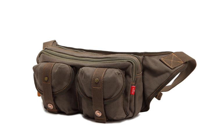 กระเป๋าคาดเอว พร้อมส่ง สีเขียว กระเป๋าคาด ผ้าแคนวาส มีช่องกระเป๋าด้านหน้า 2 ช่อง ออกแบบสวย
