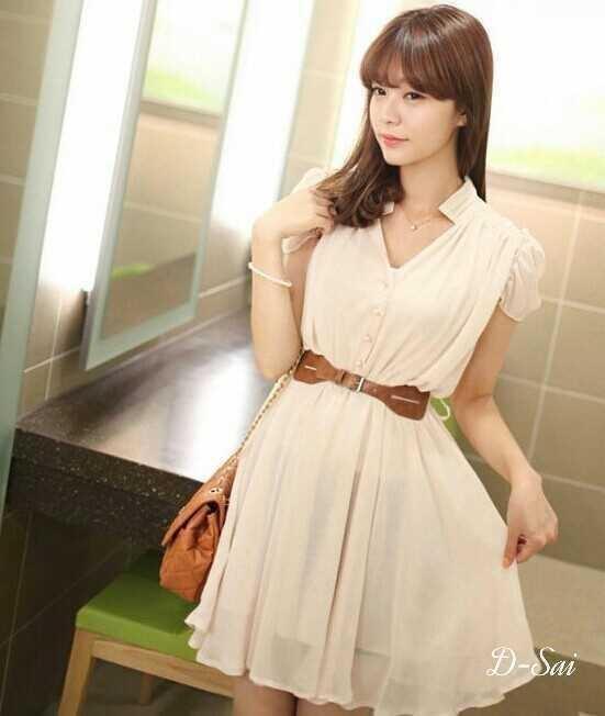 Mini Dress Lace Chiifon With Belt 2 Color Style Korea
