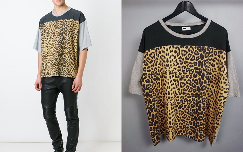 เสื้อยืดSAINT LAURENT-Leopard panel (1:1)