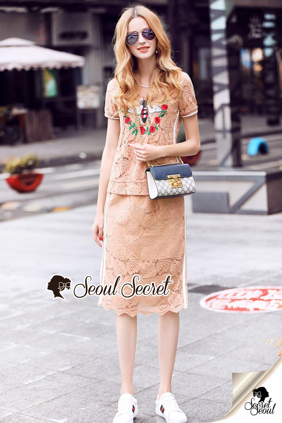 เสื้อผ้าเกาหลีพร้อมส่ง Oranginaa Latte Leaf Lace Chic Set
