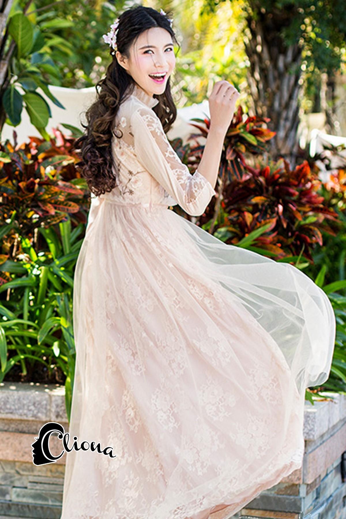 ชุดเดรสเกาหลี พร้อมส่งLong dress สีชมพูโอรส แขน 5 ส่วน