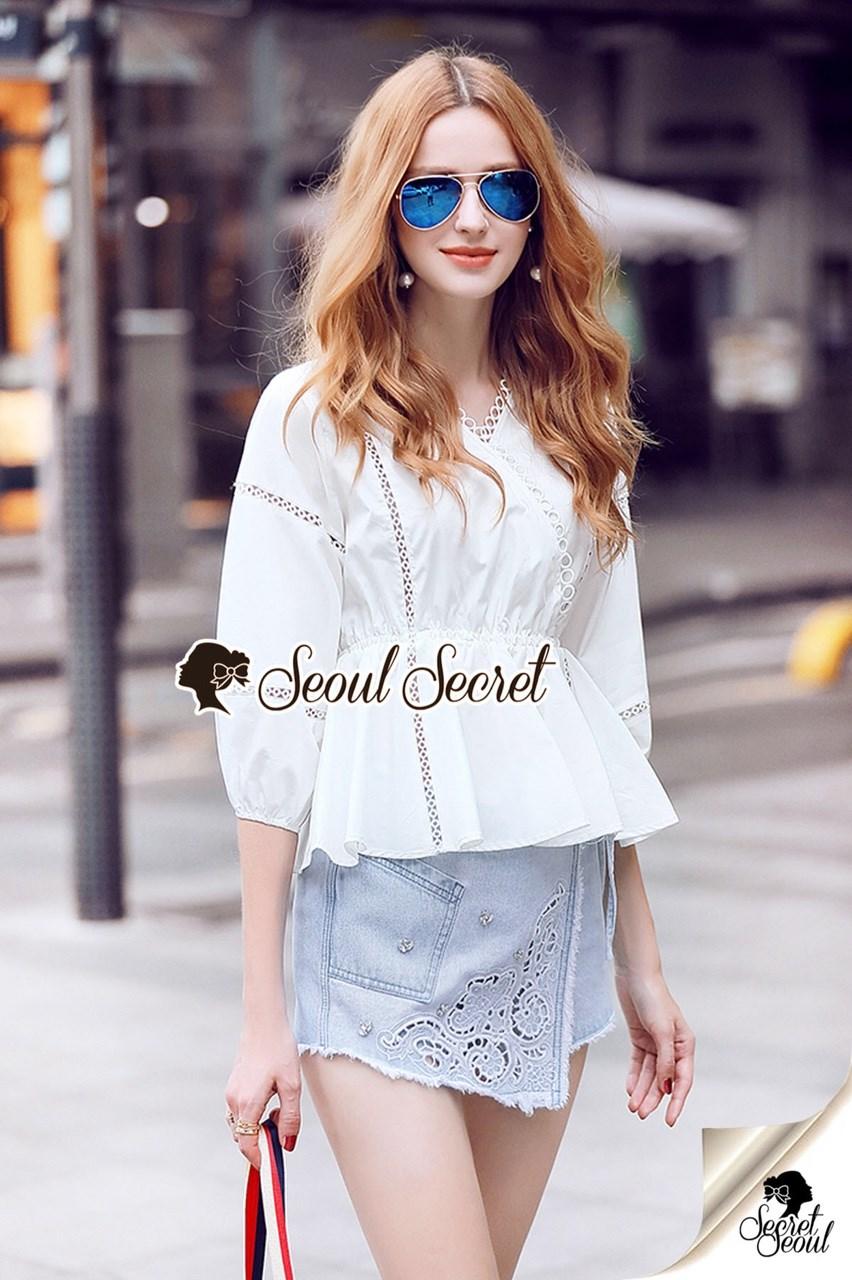 เสื้อผ้าเกาหลีพร้อมส่ง T-Shirt Circle Outfit Sweet Skirt Jean