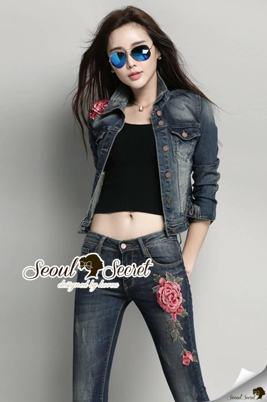เสื้อผ้าเกาหลี พร้อมส่งแจ๊กเกตRosy Red Rose Denim