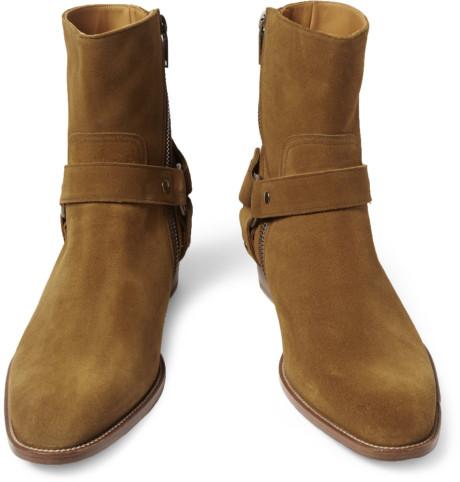 รองเท้า Saint Laurent Tan Suede Boots