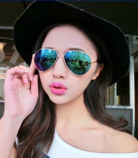 แว่นตากันแดดแฟชั่นเกาหลี กรอบโลหะสีทองเลนส์ปรอทสีน้ำเงินเขียว