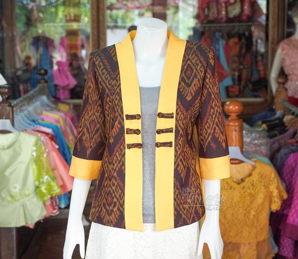 เสื้อคลุมผ้าฝ้ายสุโขทัย แต่งผ้าทอลายมัดหมี่ ไซส์ XL