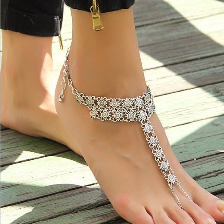 สร้อยข้อเท้า เงินหญิงดอกไม้ป่าหยดน้ำ