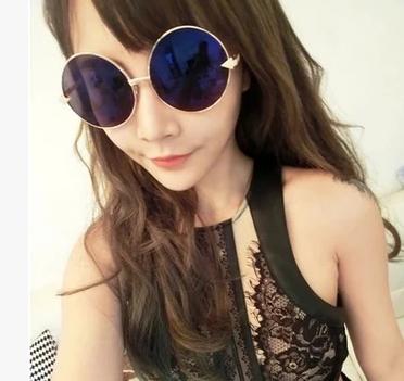 แว่นตากันแดดแฟชั่นเกาหลี กรอบวงกลมเลนส์ปรอทสีน้ำเงินสุดไฮโซ