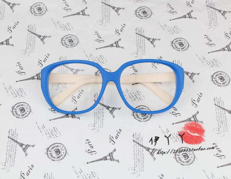 แว่นตาแฟชั่นเกาหลี สีน้ำเงินครีม (พร้อมเลนส์)