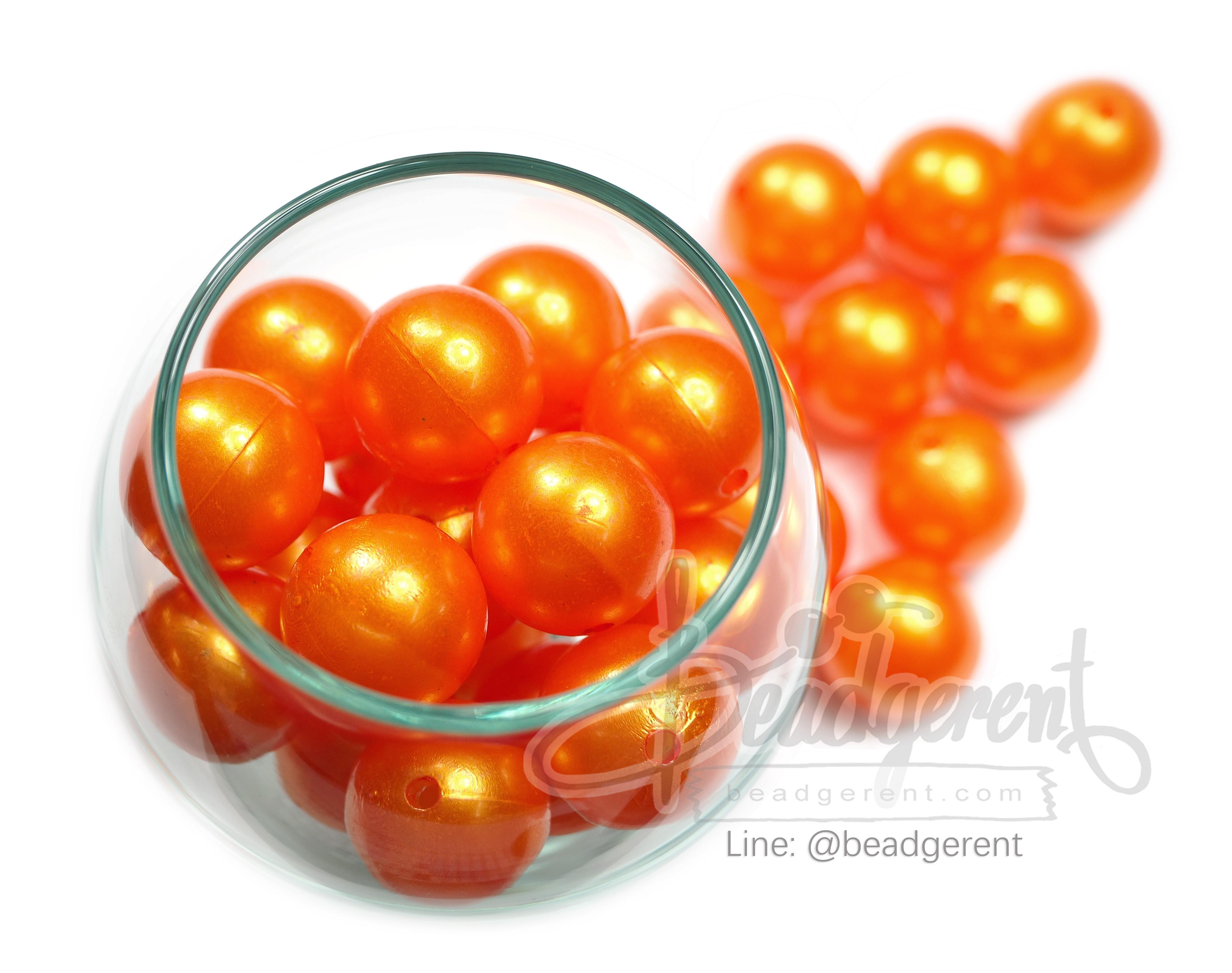 ลูกปัดมุกพลาสติก 16มิล สีส้ม (120 กรัม)
