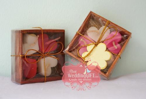 เทียนงานแต่งหัวใจ 4 ดวง ในกล่องไม้