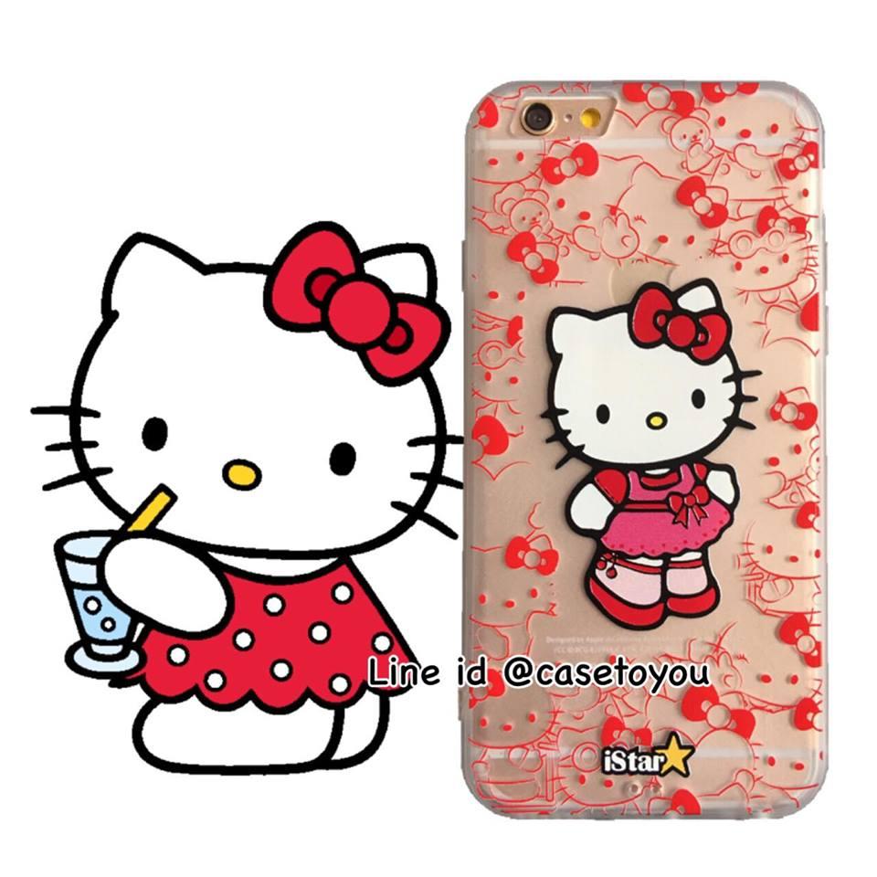 เคสใส สกรีนลายเส้นนูน Kitty iPhone 6/6S