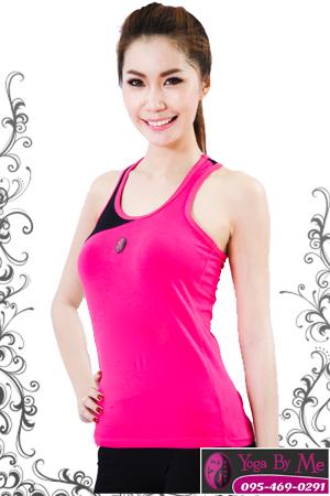 เสื้อโยคะแขนกุด AC702 สีชมพู