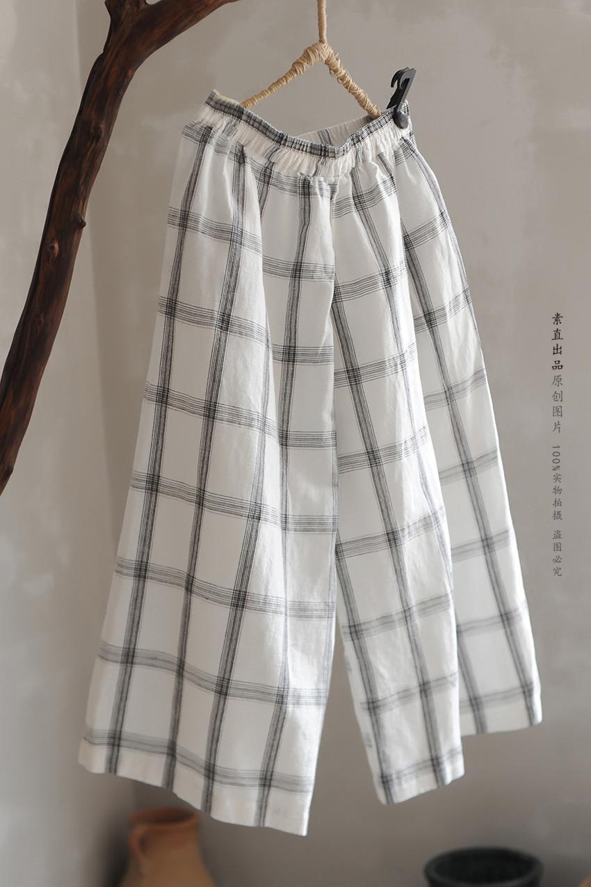 กางเกงผ้าฝ้ายสไตล์ญี่ปุ่นสีธรรมชาติ