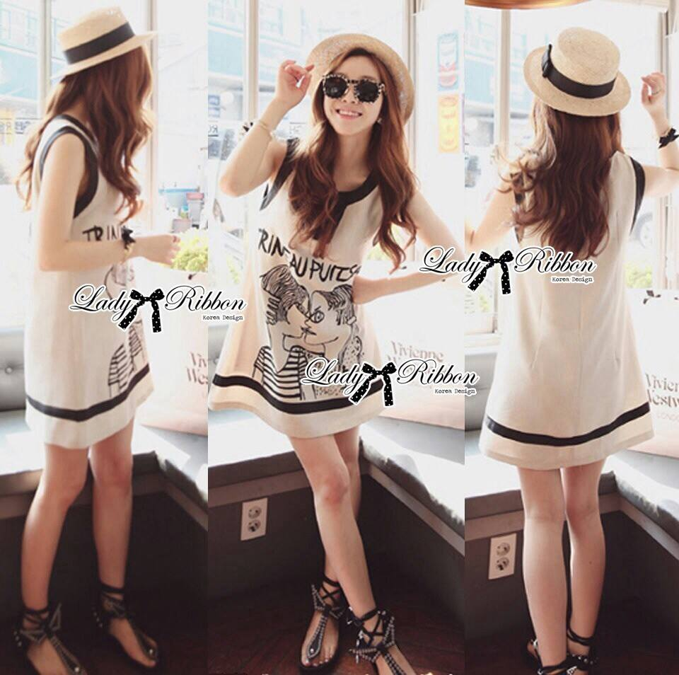 DR-LR-112 Lady Pamela Graphic Chic Black and White Linen Dress