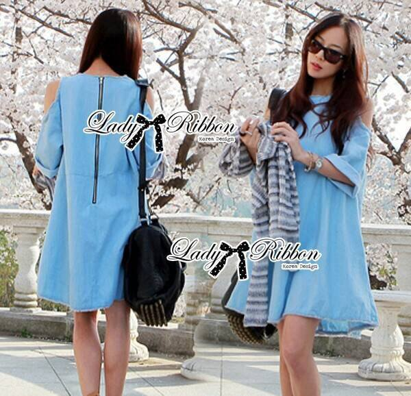 Lady Alexi Casual Cut-Out Loose Denim Dress L121-65C06