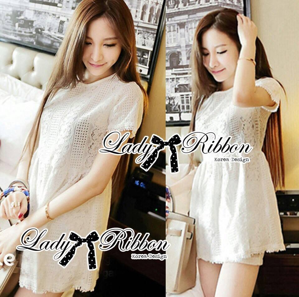 DS-PP-024 Lady Brie Sweet Classic White Lace Peplum Set