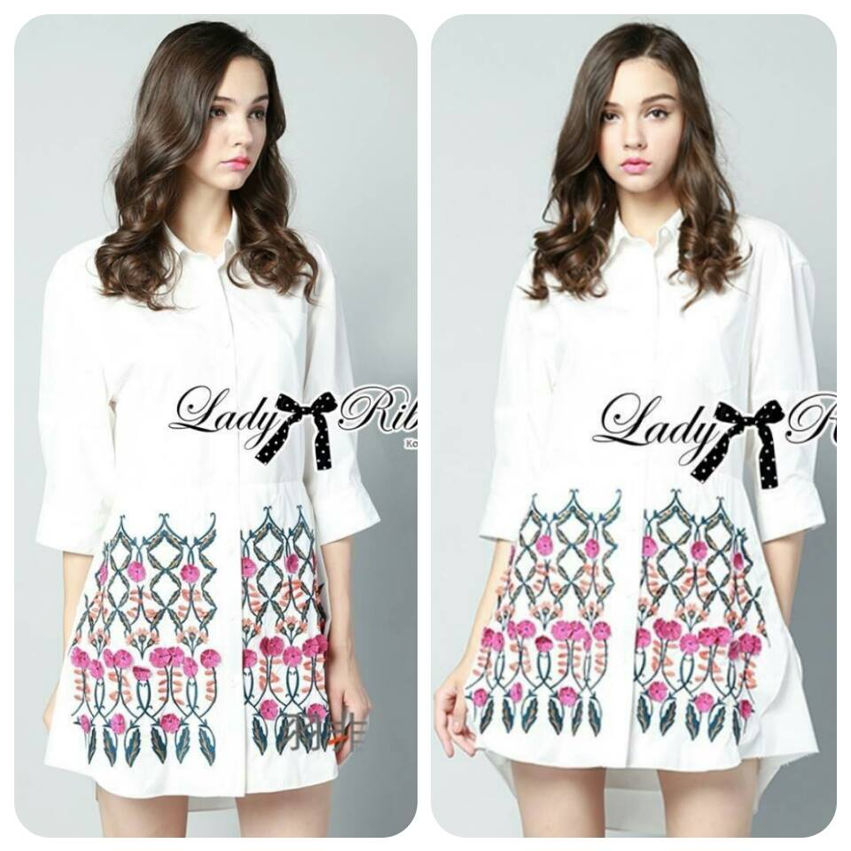 Lady Luna Minimal Spring Embroidered White Shirt Dress L165-75C04