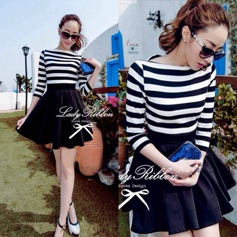 DR-LR-160 Lady Ballerina Stripe Black&White Mini Dress