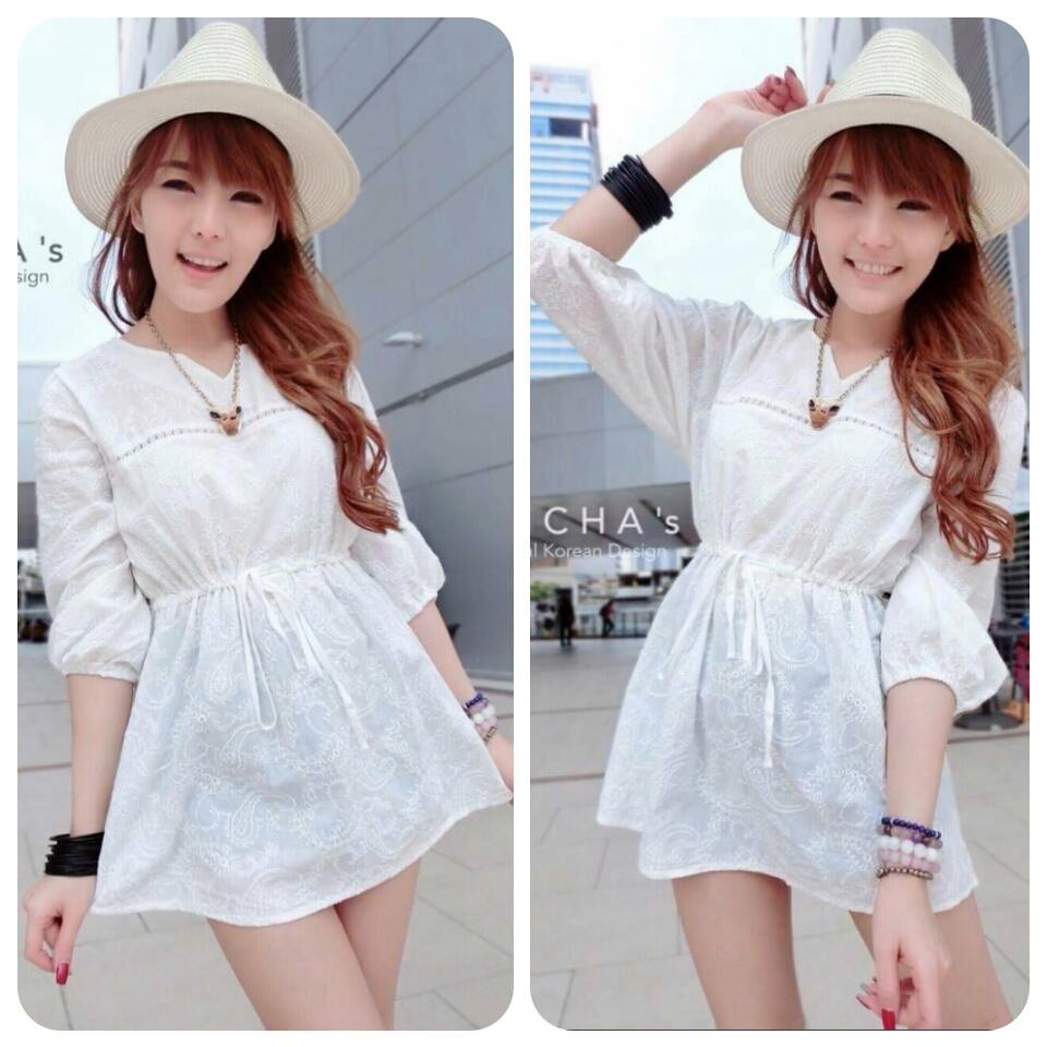Pure White Embroidery Dress C141-59A01