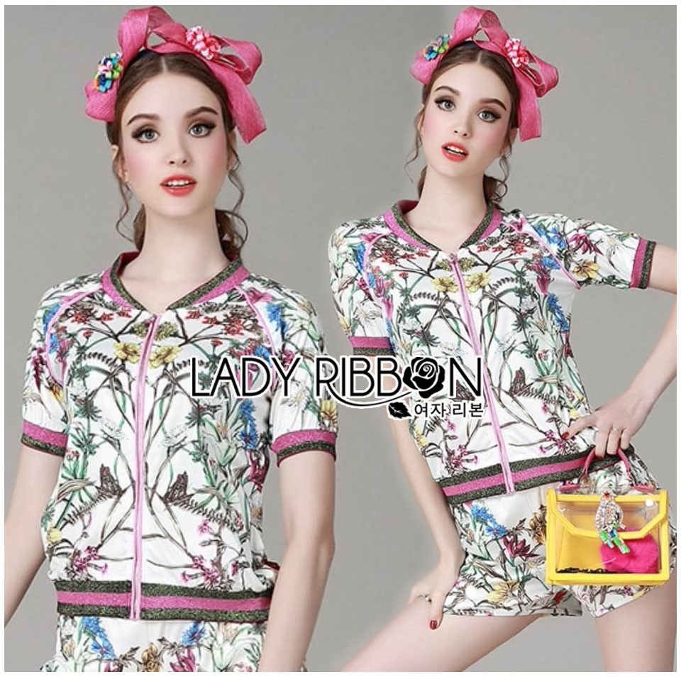 Gucci Sweet Sporty Floral Printed Jacket and Shorts Set L266-8504