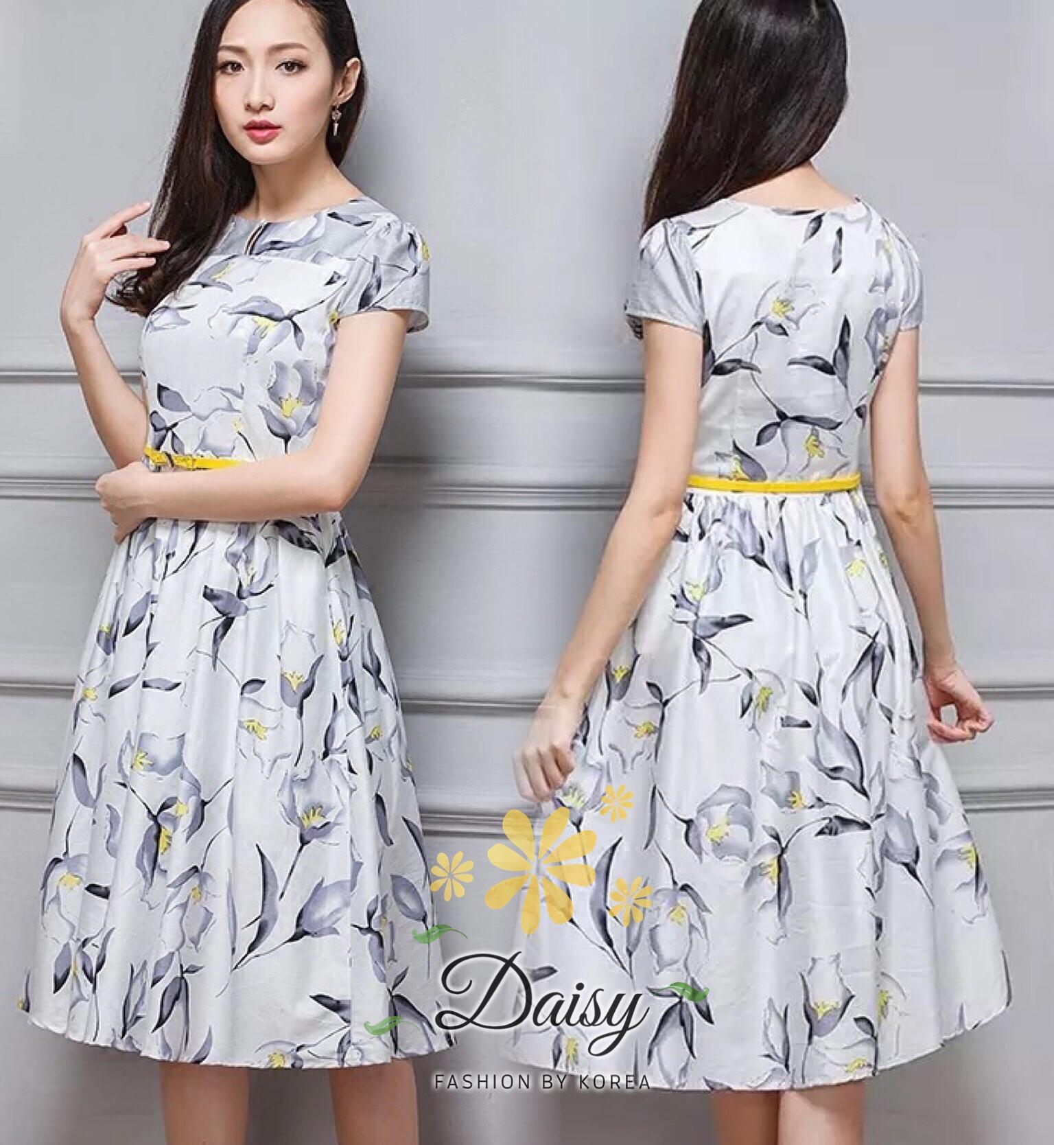 Daisy grey flower white satin dress with belt