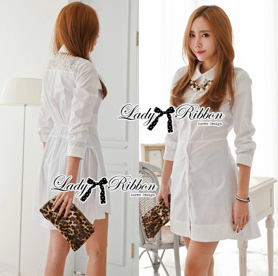DR-LR-106 Lady Yuri All White Glam Chic Shirt Dress