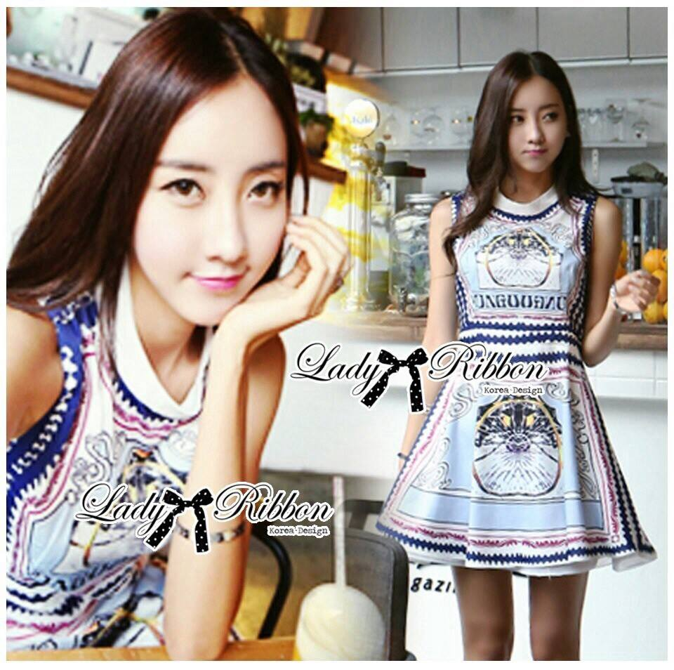 DR-LR-227 Lady Mary Royal Haute Couture Print Dress