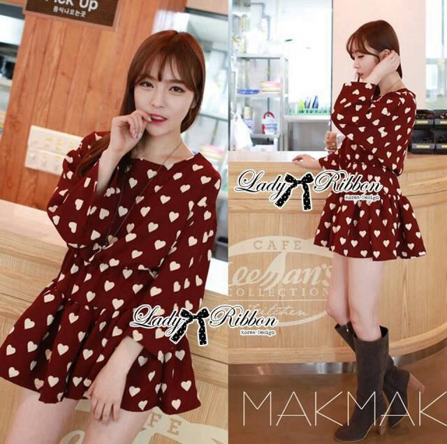 Lady Dree Monochrome Heart-Shaped Print Mini Dress L126-59A04