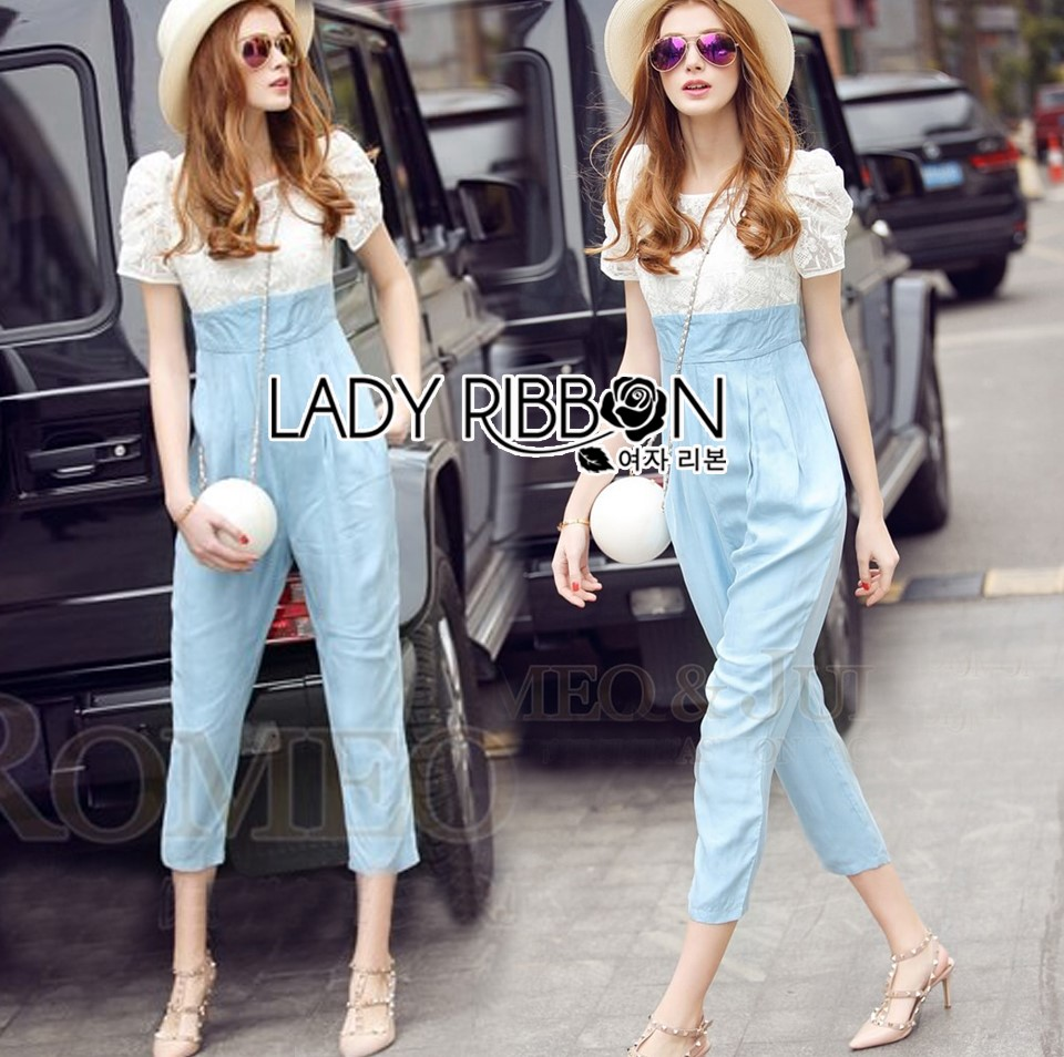 Lady Sophie Smart Casual White Lace and Blue Jumpsuit L269-7519