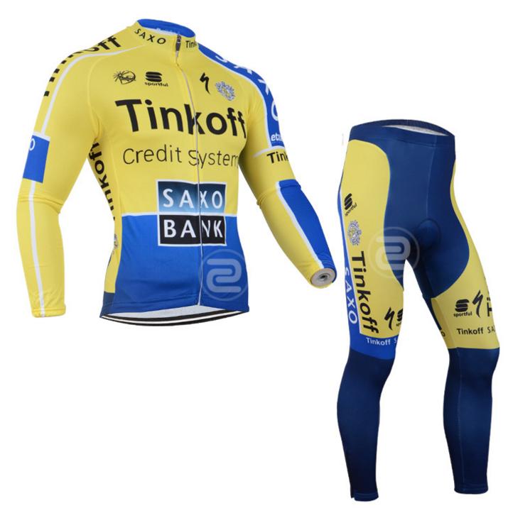 ชุดปั่นจักรยาน แขนยาว กันหนาว Tinkoff Saxo ผ้าหนา ลดราคา