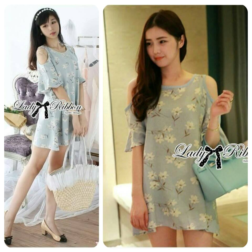 DR-LR-288 Lady Jenna Cut-Out Floral Print Baby Blue Flared Dress