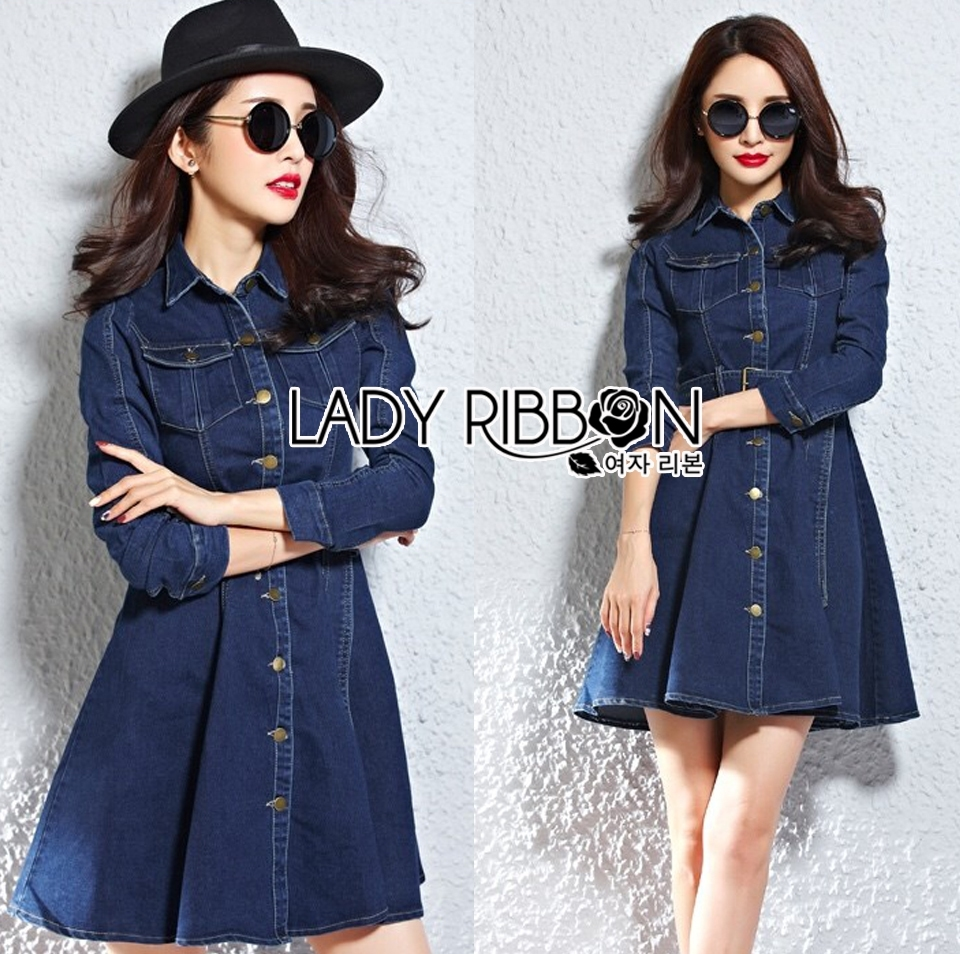 Lady Andy Casual Chic Denim Shirt Dress with Belt L206-75E04