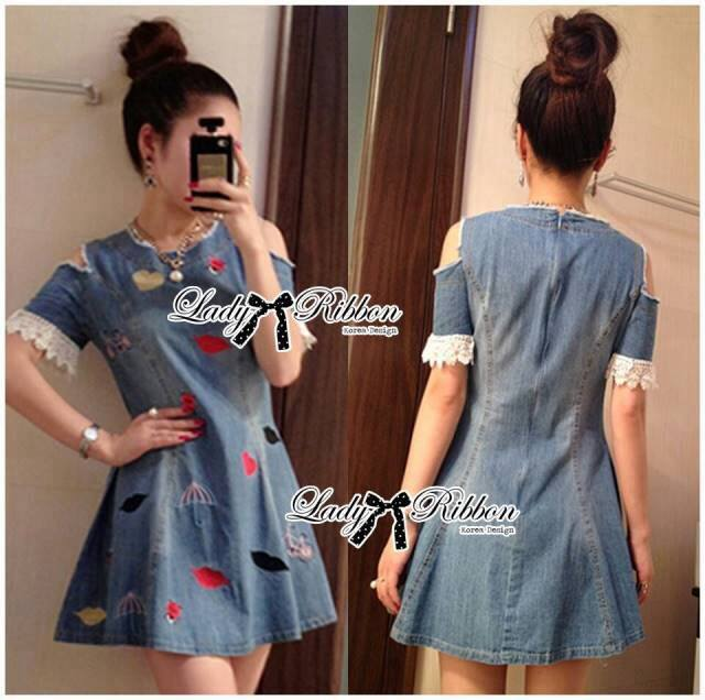 DR-LR-218 Lady Lulu Surreal Embroidered Cut-Out Insert Lace Denim Dress